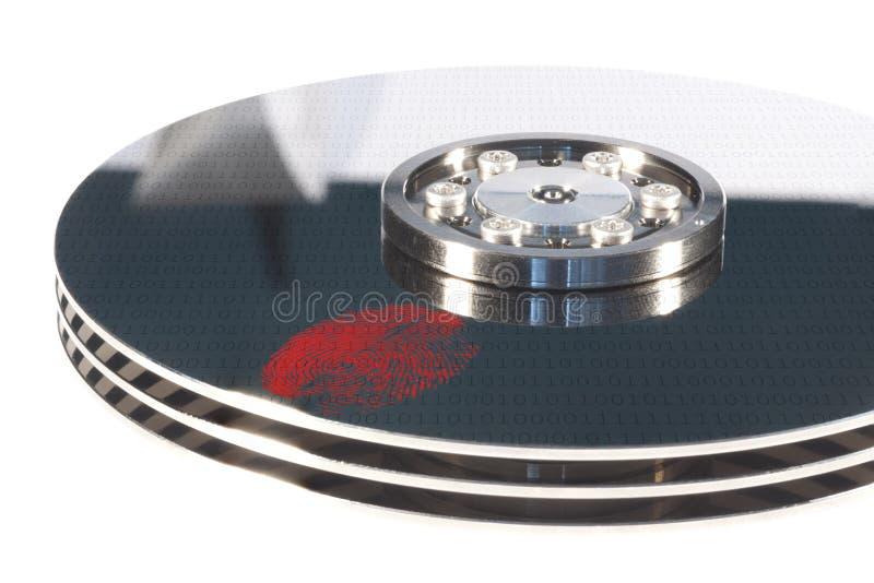 Hdd avec l'empreinte digitale rouge photos libres de droits