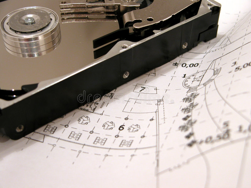 Download HDD on blue prints stock image. Image of host, macro, desktop - 633