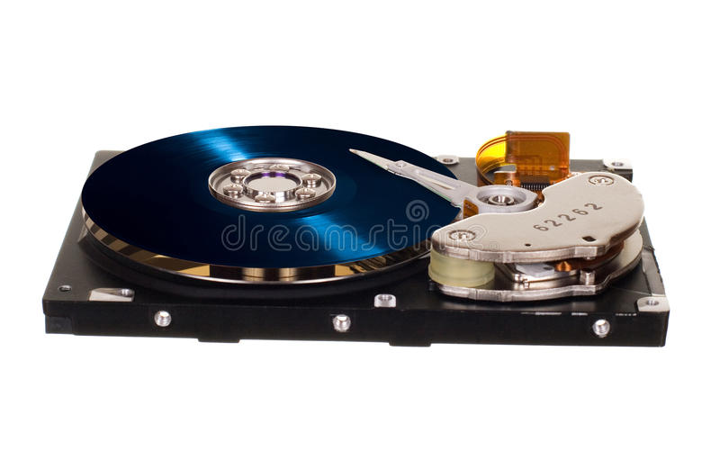 HDD with blue vinyl disk instead of magnetic plate. Hard disk drive with blue vinyl disk instead of magnetic plate isolated on white background stock photography