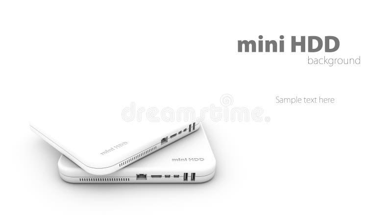 Hdd, fondo del mini blanco de la unidad de disco duro, ejemplo imagen de archivo libre de regalías