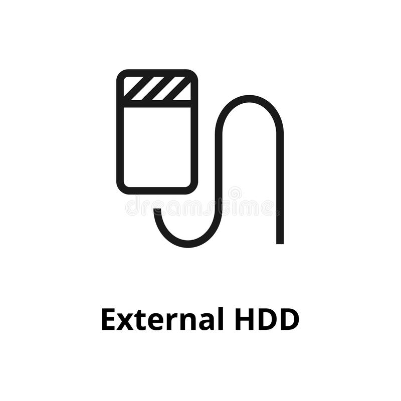 HDD gör linjen symbol tunnare royaltyfri illustrationer