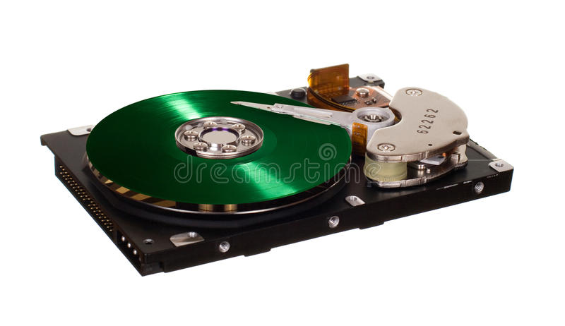 HDD with green vinyl disk instead of magnetic plate. Hard disk drive with green vinyl disk instead of magnetic plate isolated on white background stock image