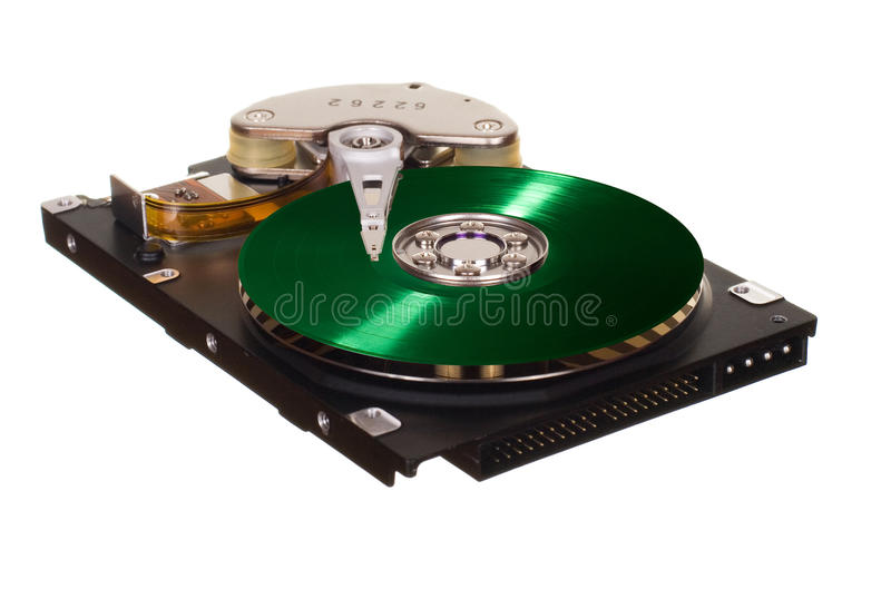 HDD with green vinyl disk instead of magnetic plate. Hard disk drive with green vinyl disk instead of magnetic plate isolated on white background stock images