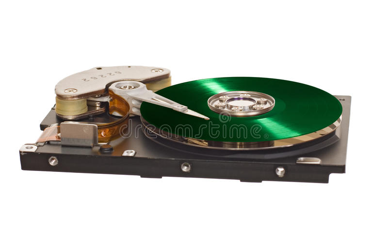 HDD with green vinyl disk instead of magnetic plate. Hard disk drive with green vinyl disk instead of magnetic plate isolated on white background royalty free stock images
