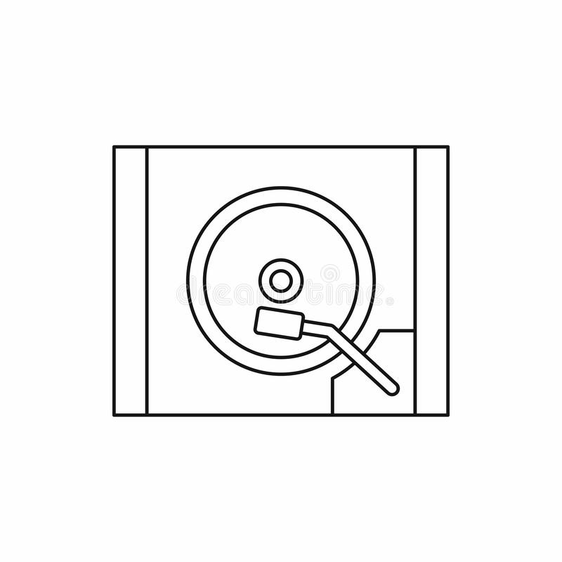HDD icon in outline style. On a white background stock image