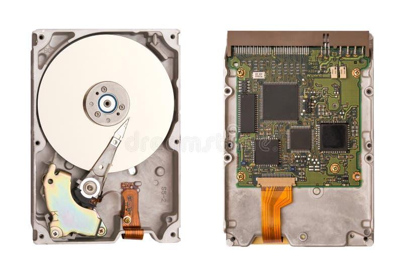 HDD lokalisiert auf weißem Hintergrund Zwei Seiten der Festplatte Computer-Chips Innerhalb des internen Festplattenlaufwerks lizenzfreies stockbild