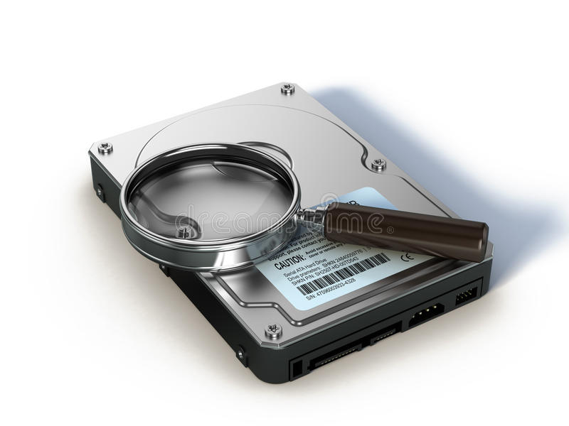 HDD and magnifying glass