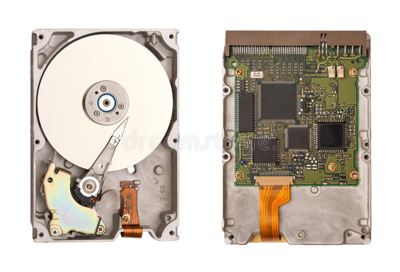HDD odizolowywający na białym tle Dwa strony dysk twardy Chipy komputerowi Wśrodku wewnętrznej Ciężkiej przejażdżki obraz royalty free