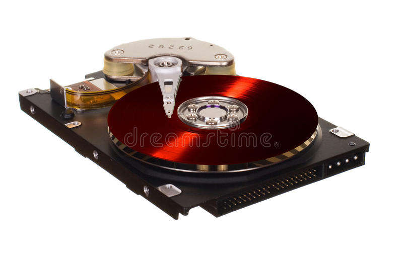 HDD with red vinyl disk instead of magnetic plate. Hard disk drive with red vinyl disk instead of magnetic plate isolated on white background royalty free stock photos