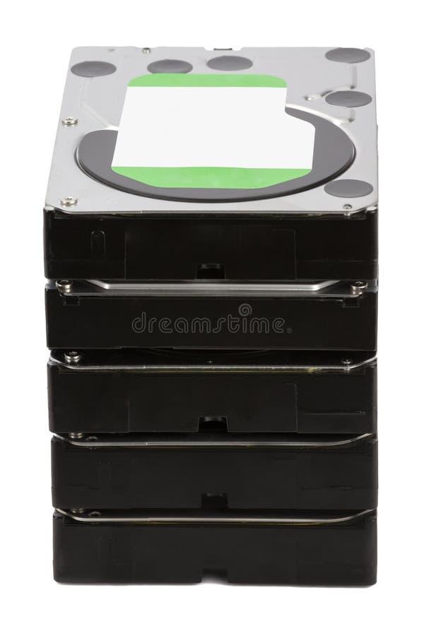 HDD Vários discos rígidos no fundo branco isolado imagens de stock