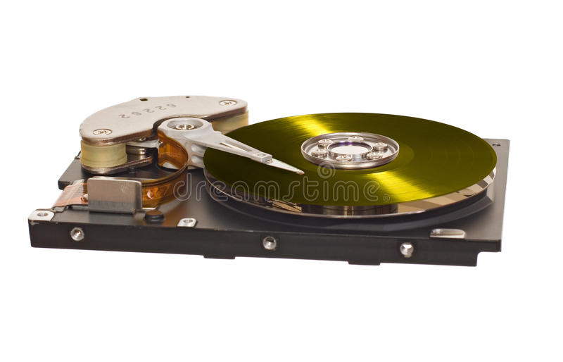 HDD with yellow vinyl disk instead of magnetic plate. Hard disk drive with yellow vinyl disk instead of magnetic plate isolated on white background stock photos