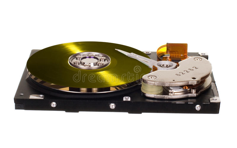 HDD with yellow vinyl disk instead of magnetic plate. Hard disk drive with yellow vinyl disk instead of magnetic plate isolated on white background stock photography