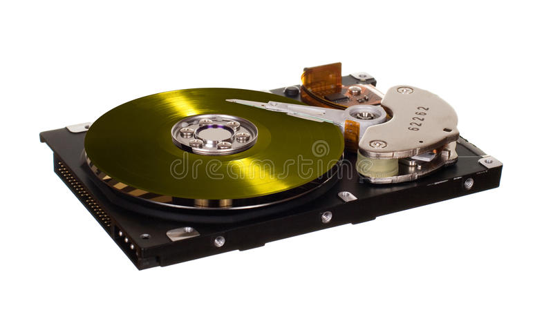 HDD with yellow vinyl disk instead of magnetic plate. Hard disk drive with yellow vinyl disk instead of magnetic plate isolated on white background royalty free stock photos