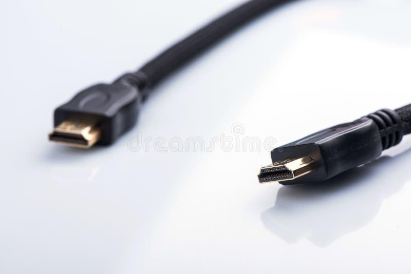 HDMI缆绳特写镜头 HDMI连接器 HDMI?? 免版税库存照片