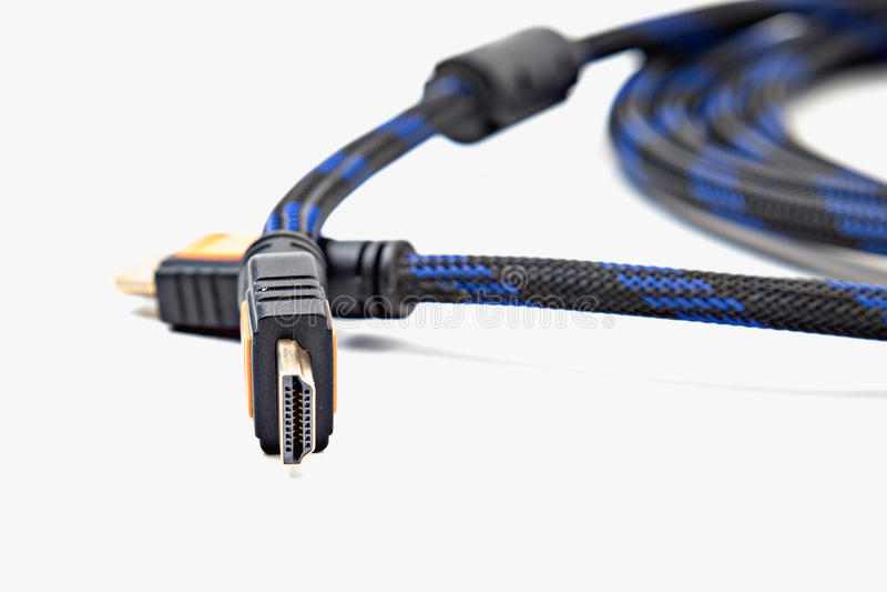 HDMI καλωδίων επάνω που απομονώνεται στενός στοκ εικόνα με δικαίωμα ελεύθερης χρήσης