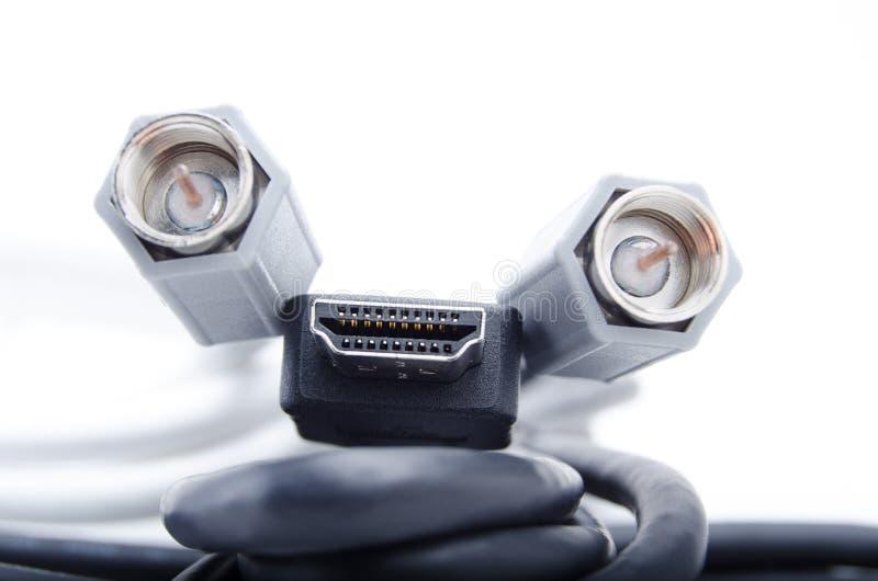 HDMI e cavi coassiali fotografia stock libera da diritti