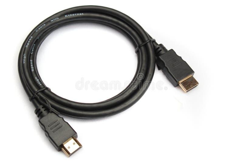 HDMI-kabel med guld- pläterade kontaktdon royaltyfria foton