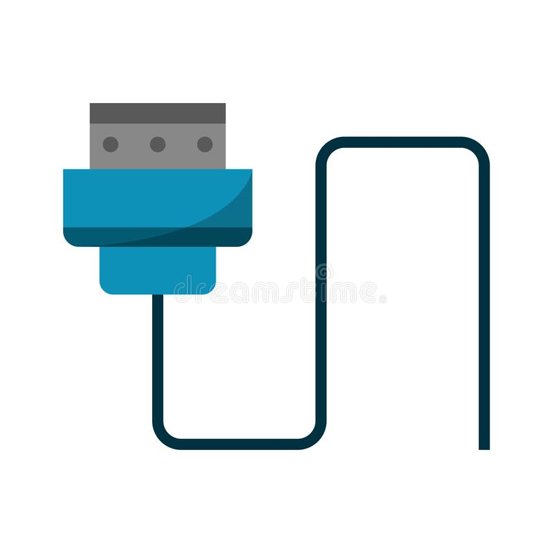 HDMI usb cable isolated. Vector illustration graphic design royalty free illustration