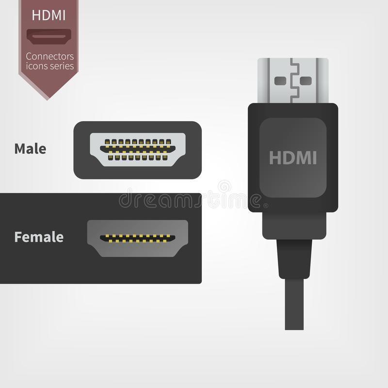HDMI Video jack, digital cable line icon. vector illustration