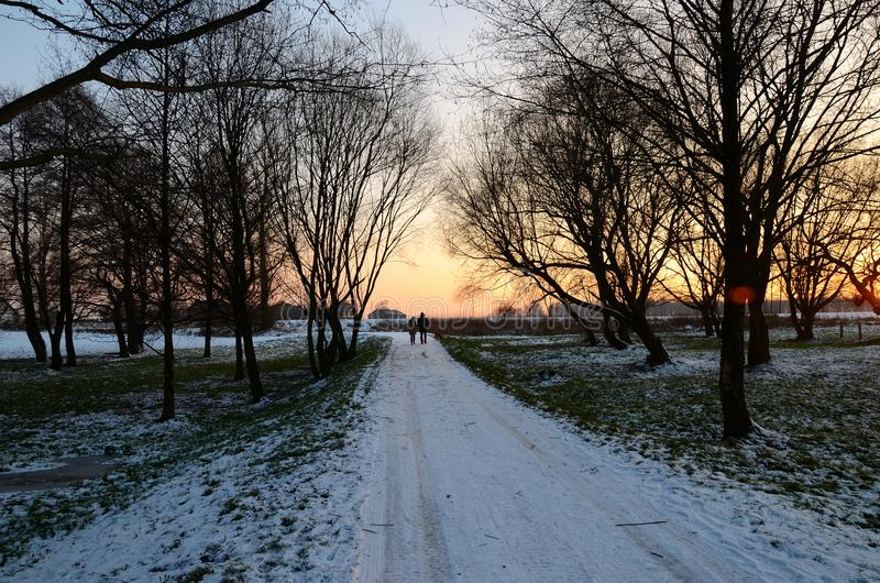 hdr图象横向日落冬天 库存图片