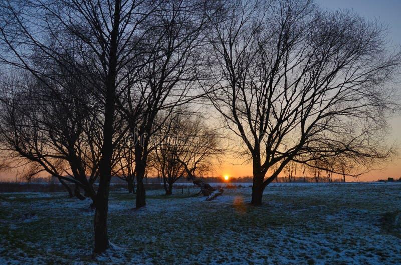 hdr图象横向日落冬天 图库摄影