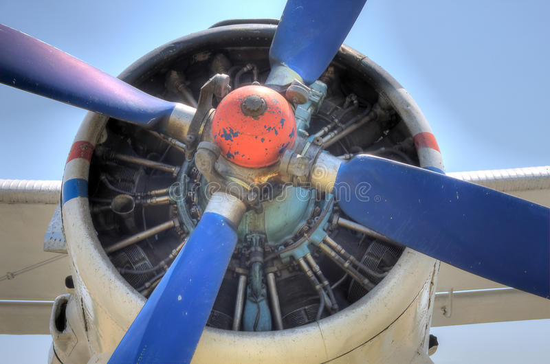 HDR Antonov 2 Plane Propeller engine detail. A Antonov AN2 biplane engine detail with exposed engine stock photo