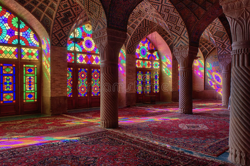 HDR av Nasir al-Mulk Mosque i Shiraz, Iran arkivfoto