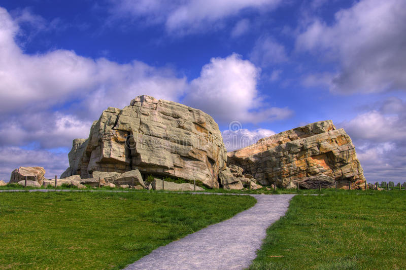 HDR Big Rock. Big Rock located near Okotoks, Alberta, Canada royalty free stock images