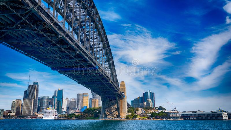 HDR The Bridgewalk. Sydney Harbour Bridge HDR with blue sky and sea stock image