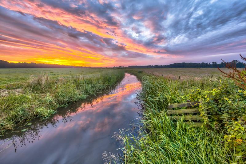 HDR colorful Indian summer river landscape royalty free stock photo