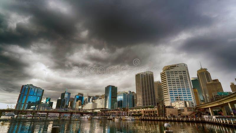 HDR Darling Harbour Stormy Skies stockbilder