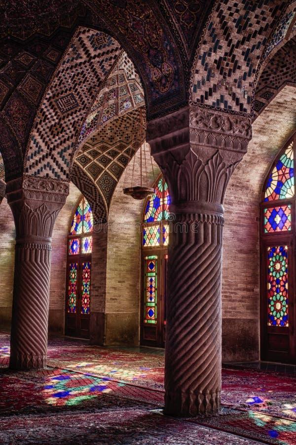 HDR de Nasir al-Mulk Mosque à Chiraz, Iran image libre de droits