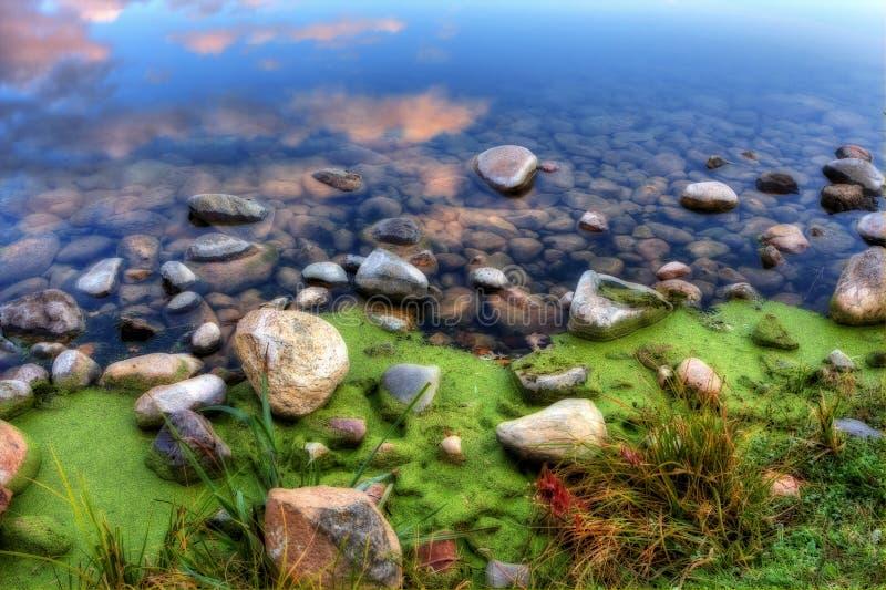 HDR de um banco de rio rochoso imagem de stock