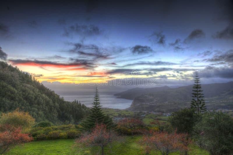 HDR doux de crépuscule sur les Açores, Portugal photos stock