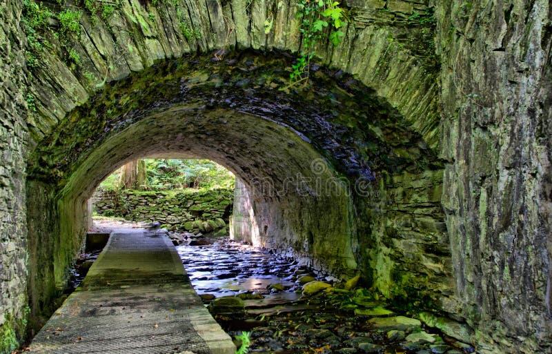 HDR - Fleuve traversant le tunnel en pierre photos libres de droits