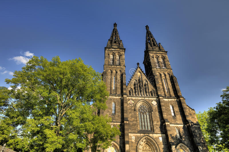 HDR fotografia piękna stara bazylika święty Peter i Saint Paul, Vysehrad, Praga, republika czech obraz royalty free