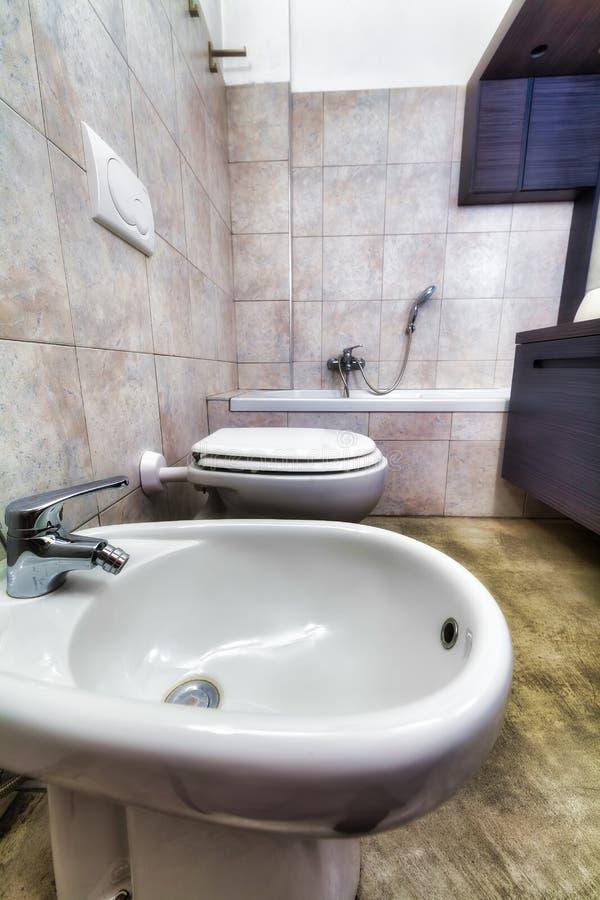 Hdr grå toilette med bidén och att bada arkivbild
