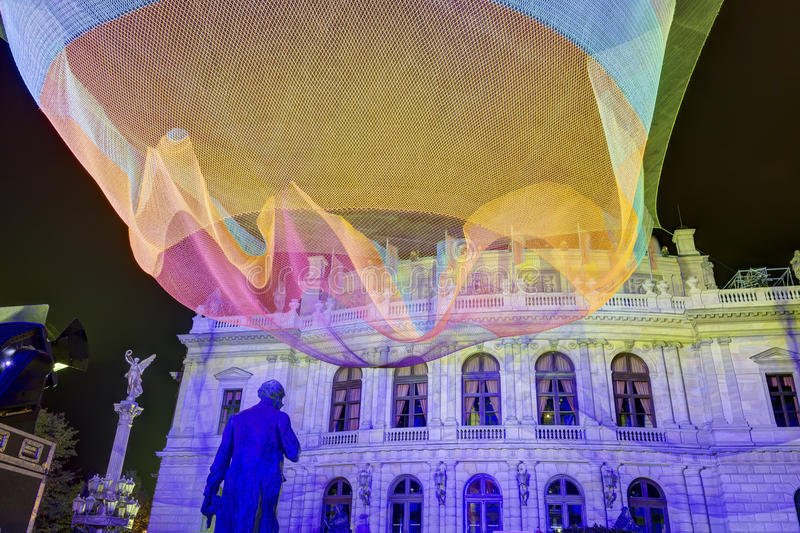HDR image of the 1.26 floating net installation by Janet Echelman in front of Rudolfinum next to Palach square (Palachovo namesti) stock image