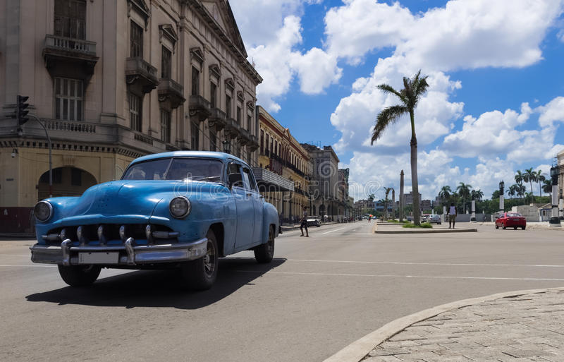 HDR - Most american Chevrolet Buick and Mercury classic cars drives on the main street in Havana Cuba - Serie Cuba Reportage stock photo