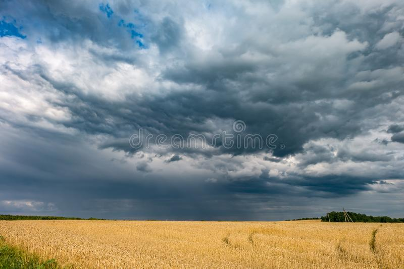 Hdr panorama on asphalt road among fields in evening with awesome black clouds before storm.  stock image