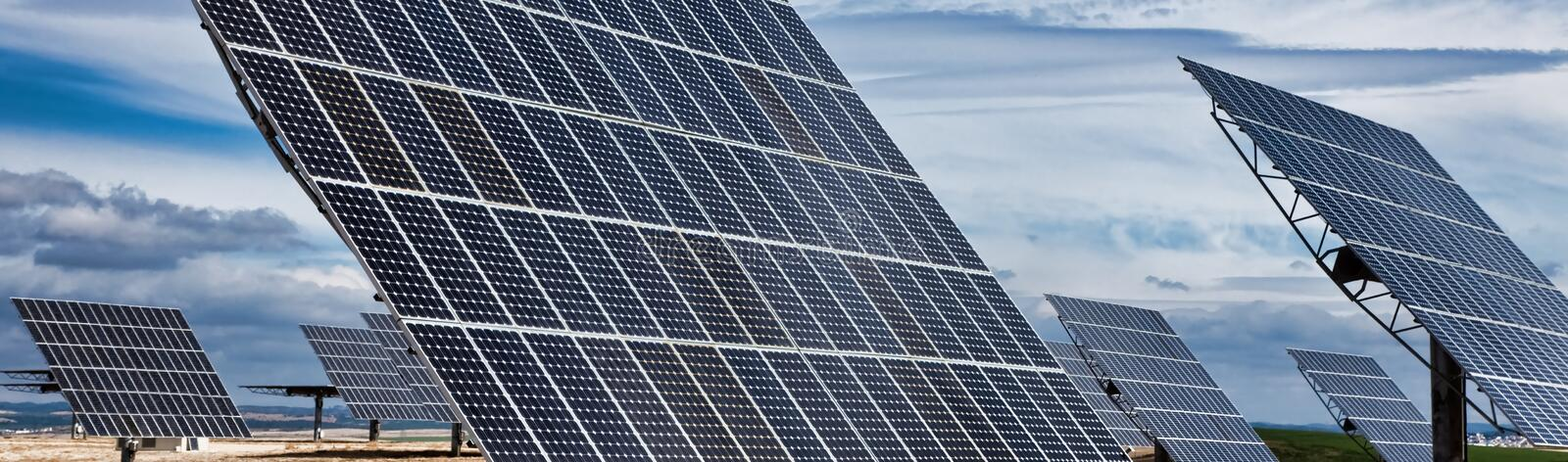HDR Panorama of Green Energy Photovoltaic Solar Panels royalty free stock images