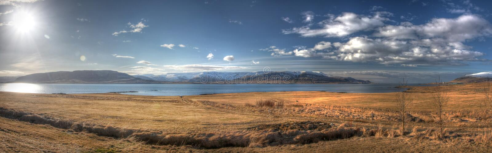 HDR panorama from Iceland. HDR sunny panoramic scene from Iceland royalty free stock photos
