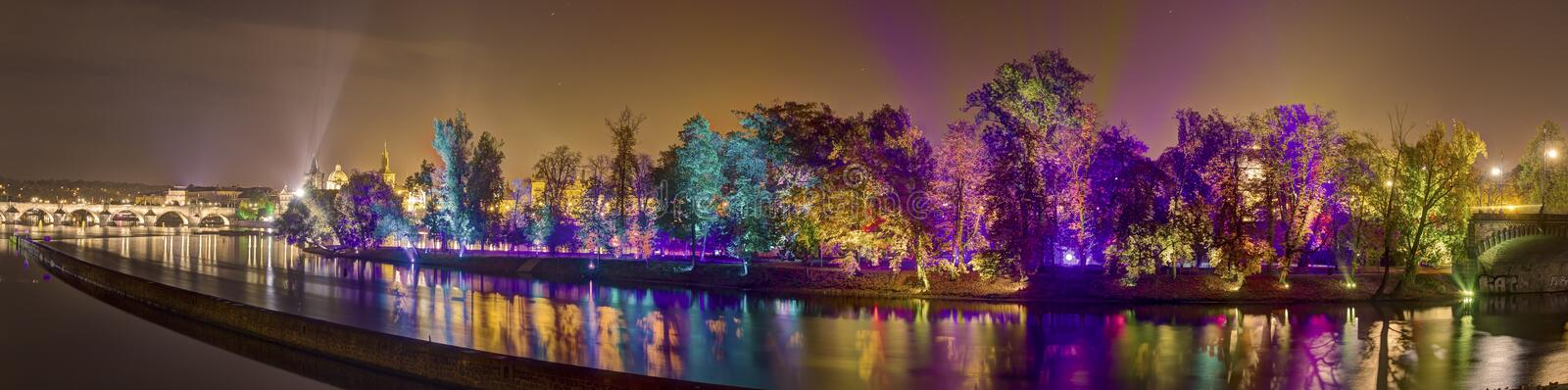 HDR panorama image of Magical garden installation by the Finnish master of moving light effects Kari Kola at Signal festival 2015 royalty free stock images