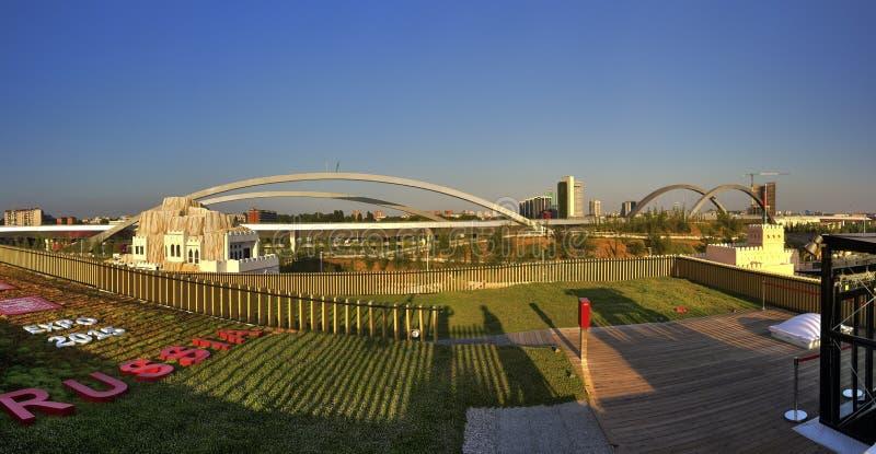 HDR panoramafoto av sikten uppifrån av den stora ryska paviljongen på den Milan EXPON 2015 arkivbilder