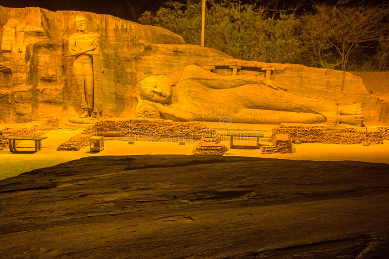 HDR Photography Of Buddha statue at Gal vihara temple. In Polonnaruwa. The temple has four rock relief statues of the Buddha carved of a large rock royalty free stock photos
