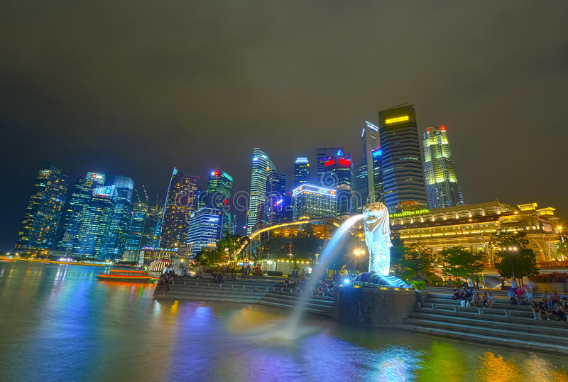 HDR photography of Merlion statue of Singapore. DOWNTOWN, SINGAPORE - OCTOBER 26: HDR photography of Merlion statue of business district Marina Bay Sands On stock photo