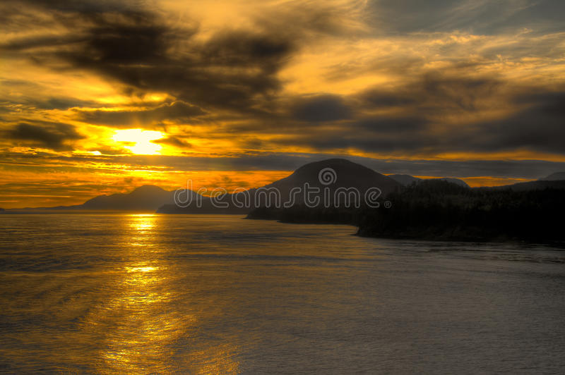HDR Sunset Alaska Inside Passage stock photography