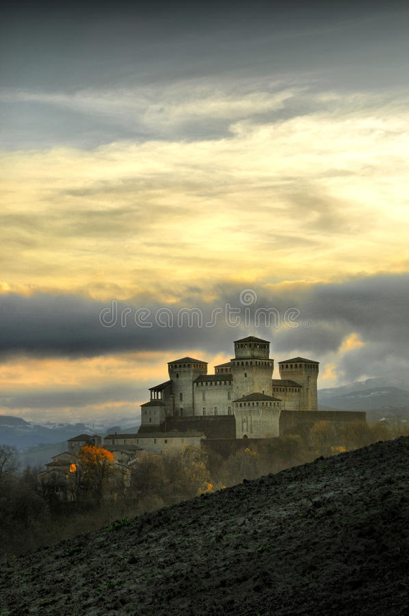 HDR view of Torrechiara Castle royalty free stock images