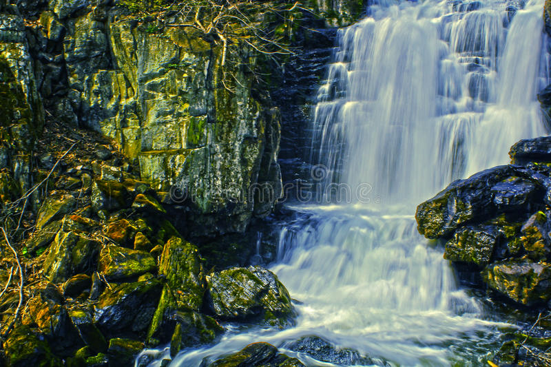 HDR Waterfall. An hdr photo of a waterfall in New Preston, CT royalty free stock photography