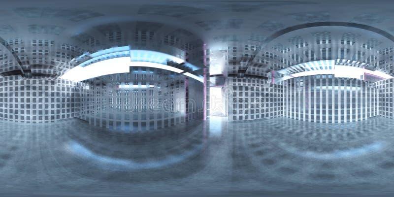 HDRI,环境地图,球状全景,等距离投射,工厂前提 库存例证